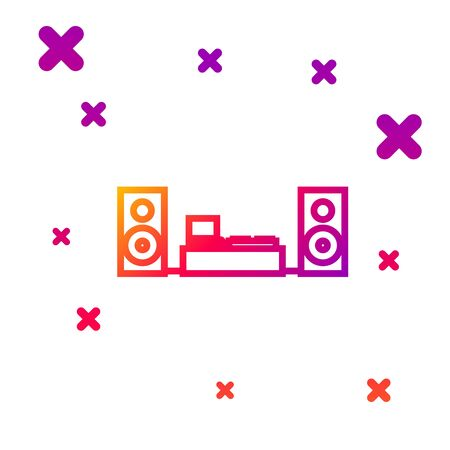 Color line Home stereo with two speaker s icon isolated on white background. Music system. Gradient random dynamic shapes. Vector Illustration