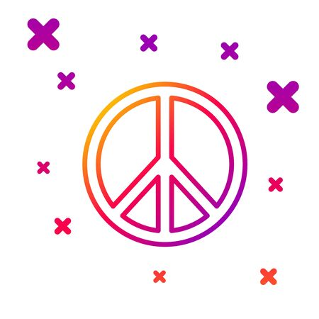 Color line Peace icon isolated on white background. Hippie symbol of peace. Gradient random dynamic shapes. Vector Illustration