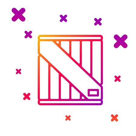 Ligne de couleur icône de boîte en bois isolé sur fond blanc. Formes dynamiques aléatoires dégradées. Illustration vectorielle Vecteurs