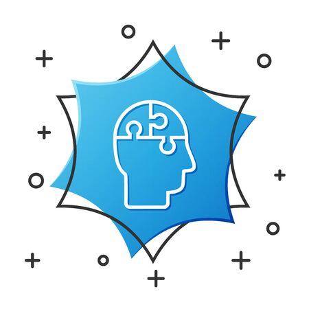 White line Human head puzzles strategy icon isolated on white background. Thinking brain sign. Symbol work of brain. Blue hexagon button. Vector Illustration