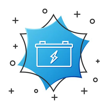 White line Car battery icon isolated on white background. Accumulator battery energy power and electricity accumulator battery. Blue hexagon button. Vector Illustration Иллюстрация