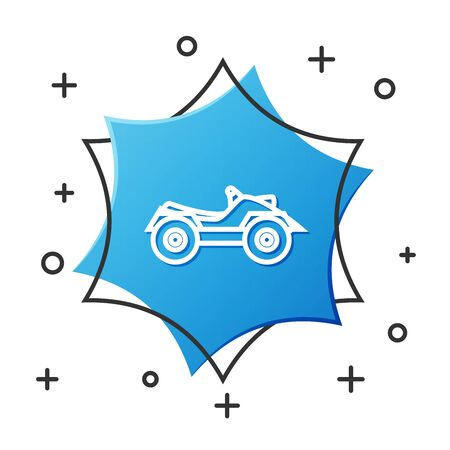 White line All Terrain Vehicle or ATV motorcycle icon isolated on white background. Quad bike. Extreme sport. Blue hexagon button. Vector Illustration Illustration