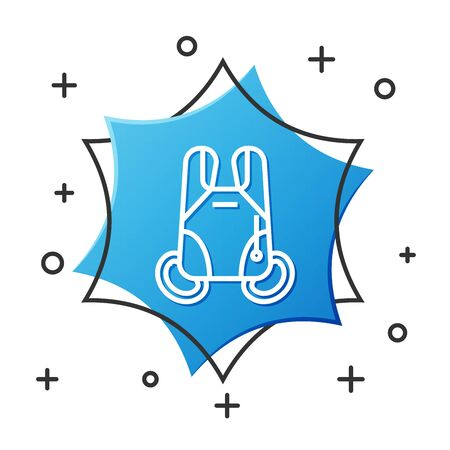 White line Parachute icon isolated on white background. Extreme sport. Sport equipment. Blue hexagon button. Vector Illustration