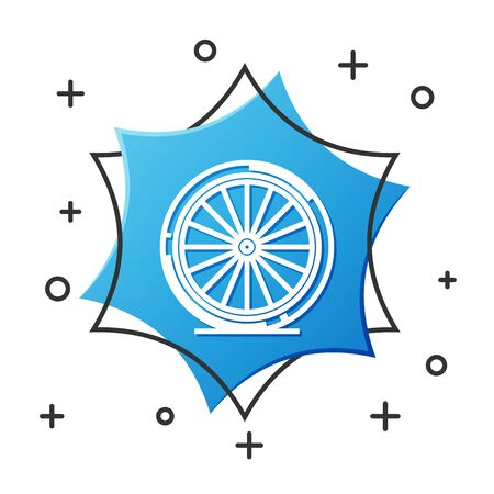 White line Bicycle wheel icon isolated on white background. Bike race. Extreme sport. Sport equipment. Blue hexagon button. Vector Illustration