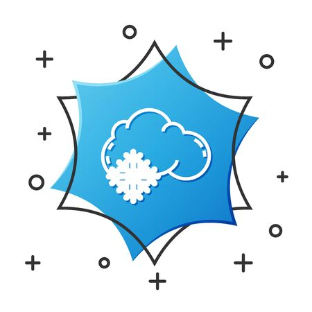 White line Cloud with snow icon isolated on white background. Cloud with snowflakes. Single weather icon. Snowing sign. Blue hexagon button. Vector Illustration