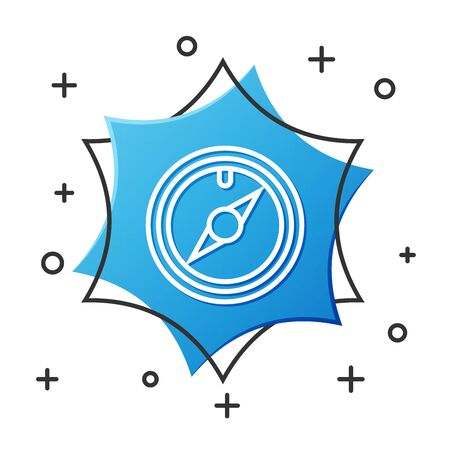 White line Wind rose icon isolated on white background. Compass icon for travel. Navigation design. Blue hexagon button. Vector Illustration