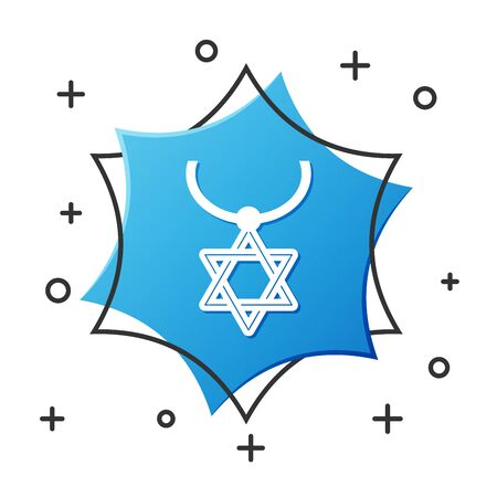 White line Star of David necklace on chain icon isolated on white background. Jewish religion symbol. Symbol of Israel. Jewellery and accessory. Blue hexagon button. Vector Illustration