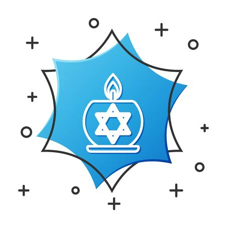 White line Burning candle in candlestick with star of david icon isolated on white background. Cylindrical candle stick with burning flame. Blue hexagon button. Vector Illustration