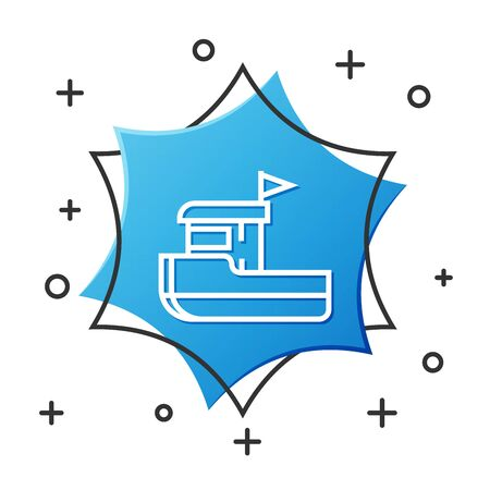 White line Fishing boat icon isolated on white background. Blue hexagon button. Vector Illustration