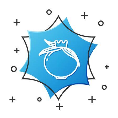 White line Pomegranate icon isolated on white background. Garnet fruit. Blue hexagon button. Vector Illustration