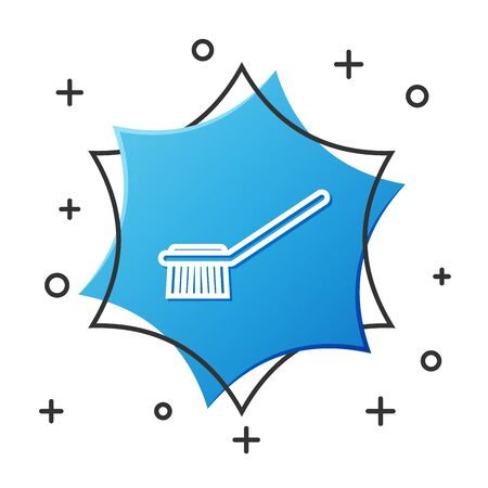 White line Toilet brush icon isolated on white background. Blue hexagon button. Vector Illustration Иллюстрация