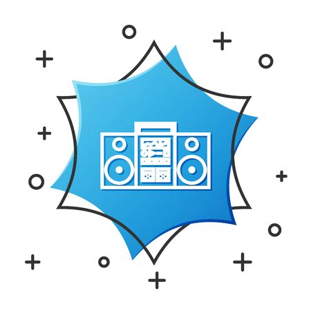White line Home stereo with two speakers icon isolated on white background. Music system. Blue hexagon button. Vector Illustration Иллюстрация