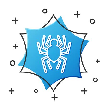 White line Spider icon isolated on white background. Happy Halloween party. Blue hexagon button. Vector Illustration