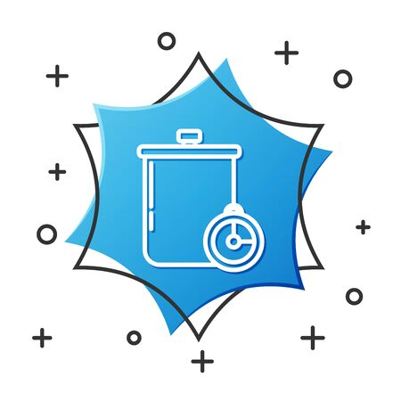 White line Cooking pot and kitchen timer icon isolated on white background. Boil or stew food symbol. Blue hexagon button. Vector Illustration