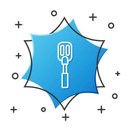 White line Spatula icon isolated on white background. Kitchen spatula icon. BBQ spatula sign. Barbecue and grill tool. Blue hexagon button. Vector Illustration Vettoriali