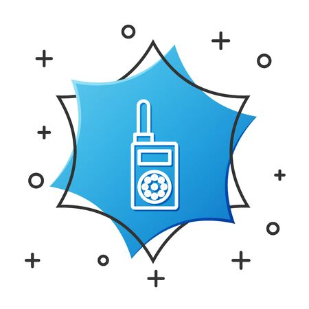 White line Walkie talkie icon isolated on white background. Portable radio transmitter icon. Radio transceiver sign. Blue hexagon button. Vector Illustration