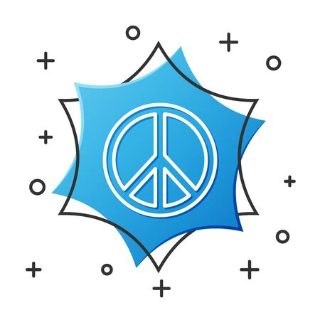 White line Peace icon isolated on white background. Hippie symbol of peace. Blue hexagon button. Vector Illustration