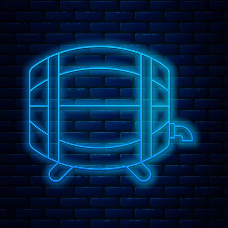 Glowing neon line Wooden barrel on rack with stopcock icon isolated on brick wall background. Vector Illustration