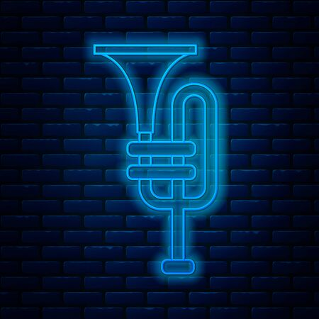 Glowing neon line Musical instrument trumpet icon isolated on brick wall background. Vector Illustration