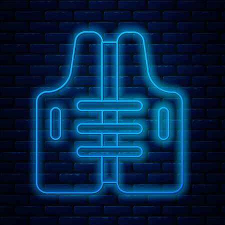 Glowing neon line Life jacket icon isolated on brick wall background. Life vest icon. Extreme sport. Sport equipment. Vector Illustration