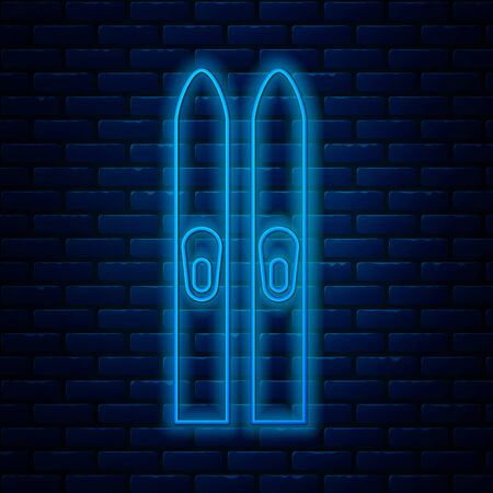 Glowing neon line Ski and sticks icon isolated on brick wall background. Extreme sport. Skiing equipment. Winter sports icon. Vector Illustration