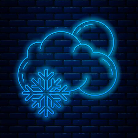 Glowing neon line Cloud with snow and sun icon isolated on brick wall background. Cloud with snowflakes. Single weather icon. Snowing sign. Vector Illustration