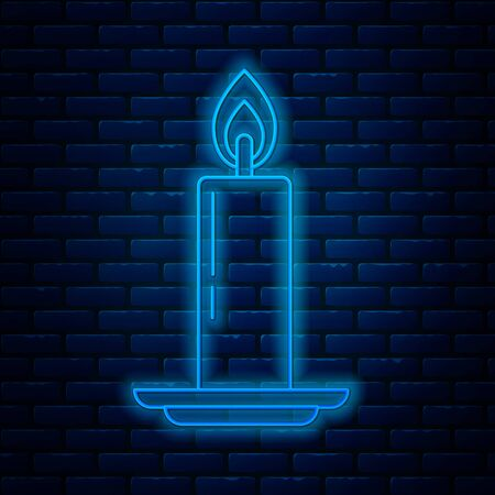 Glowing neon line Burning candle in candlestick icon isolated on brick wall background. Old fashioned lit candle. Cylindrical candle stick with burning flame. Vector Illustration