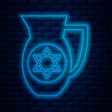 Glowing neon line Decanter with star of david icon isolated on brick wall background. Pottery jug. Organic product in carafe. Vector Illustration
