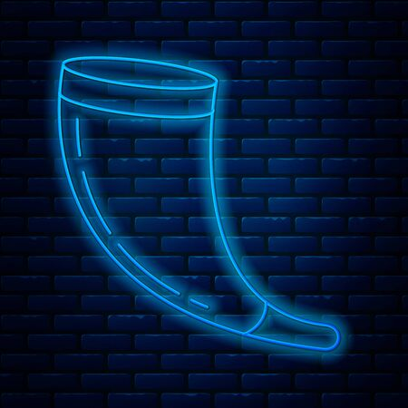 Glowing neon line Traditional ram horn, shofar icon isolated on brick wall background. Rosh hashanah, jewish New Year holiday traditional symbol. Vector Illustration