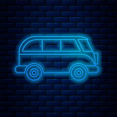 Glowing neon line Retro minivan icon isolated on brick wall background. Old retro classic traveling van. Vector Illustration