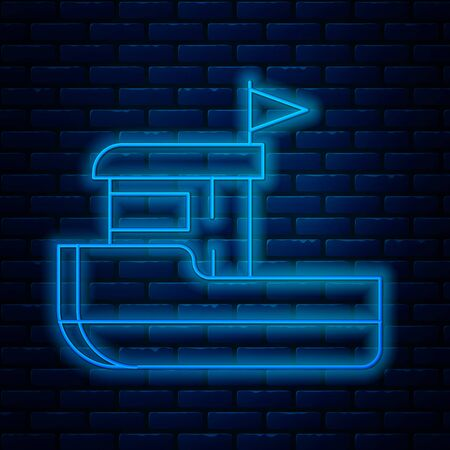 Glowing neon line Fishing boat icon isolated on brick wall background. Vector Illustration Stock Illustratie