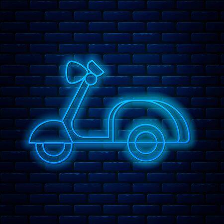 Icône de scooter de ligne néon brillant isolé sur fond de mur de brique. Illustration vectorielle Vecteurs