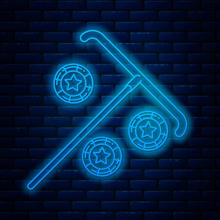 Glowing neon line Stick for chips icon isolated on brick wall background. Casino gambling. Vector Illustration Illustration