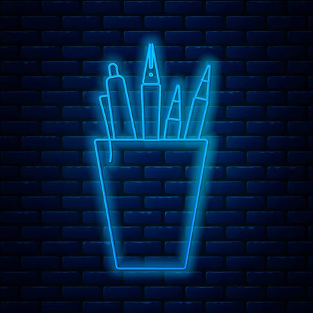Glowing neon line Pencil case stationery icon isolated on brick wall background. Pencil, pen, ruler in a glass for office. Vector Illustration