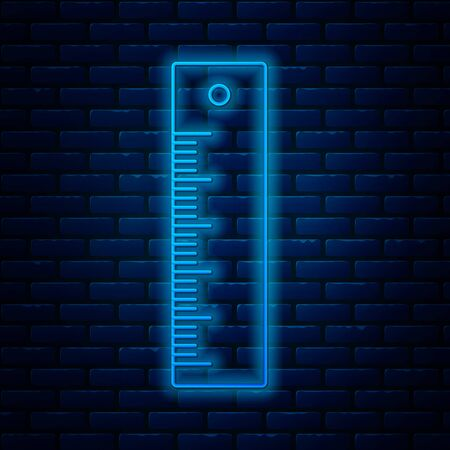 Glowing neon line Ruler icon isolated on brick wall background. Straightedge symbol. Vector Illustration