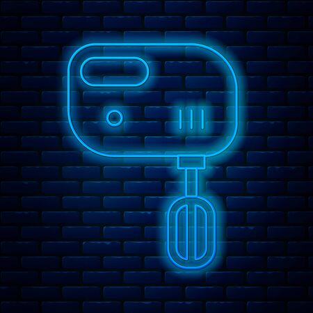 Glowing neon line Electric mixer icon isolated on brick wall background. Kitchen blender. Vector Illustration