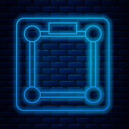 Glowing neon line Bathroom scales icon isolated on brick wall background. Weight measure Equipment. Weight Scale fitness sport concept. Vector Illustration