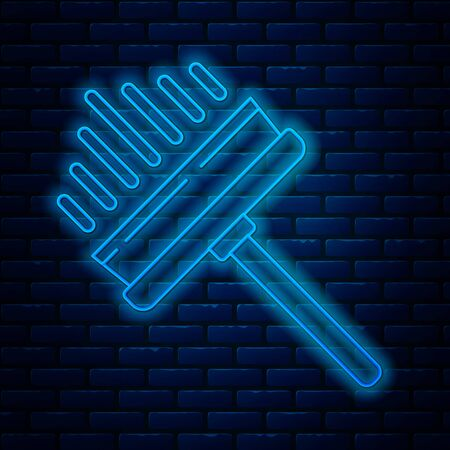 Glowing neon line Cleaning service with of rubber cleaner for windows icon isolated on brick wall background. Squeegee, scraper, wiper. Vector Illustration Vectores