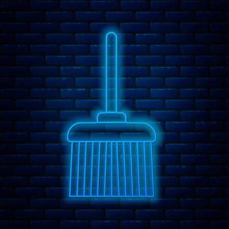 Glowing neon line Handle broom icon isolated on brick wall background. Cleaning service concept. Vector Illustration