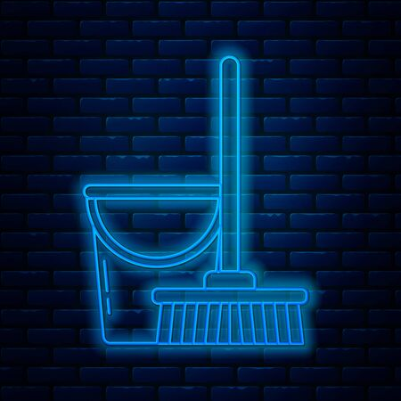 Glowing neon line Mop and bucket icon isolated on brick wall background. Cleaning service concept. Vector Illustration Иллюстрация