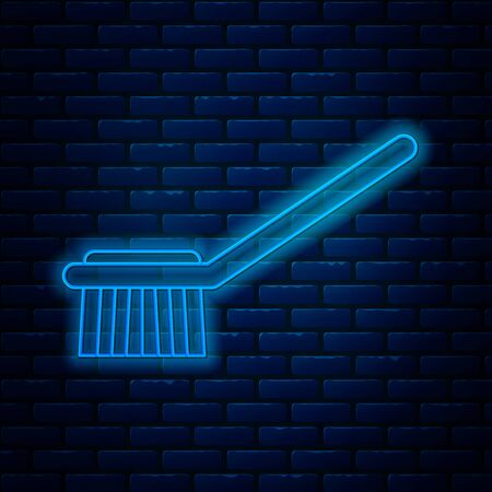 Glowing neon line Toilet brush icon isolated on brick wall background. Vector Illustration Иллюстрация