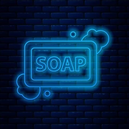 Glowing neon line Bar of soap with foam icon isolated on brick wall background. Soap bar with bubbles. Vector Illustration