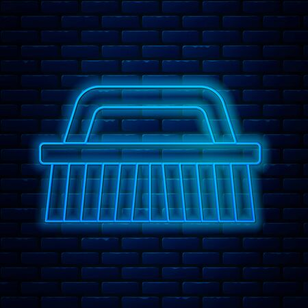 Glowing neon line Brush for cleaning icon isolated on brick wall background. Vector Illustration