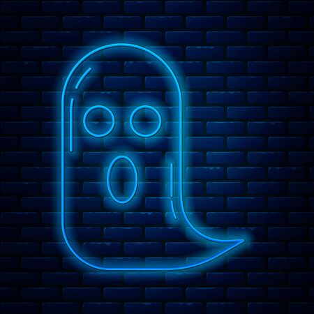 Glowing neon line Ghost icon isolated on brick wall background. Happy Halloween party. Vector Illustration Ilustrace
