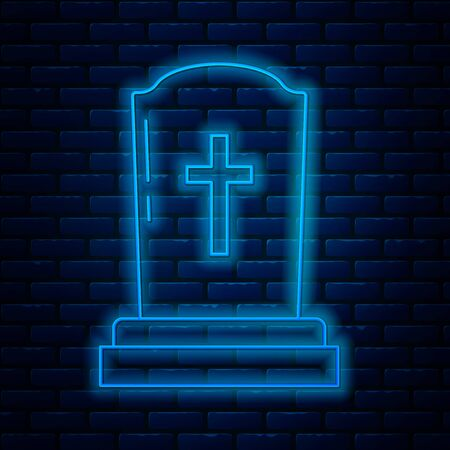 Glowing neon line Tombstone with cross icon isolated on brick wall background. Grave icon. Vector Illustration