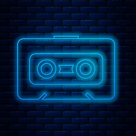Glowing neon line Retro audio cassette tape icon isolated on brick wall background. Vector Illustration Ilustração