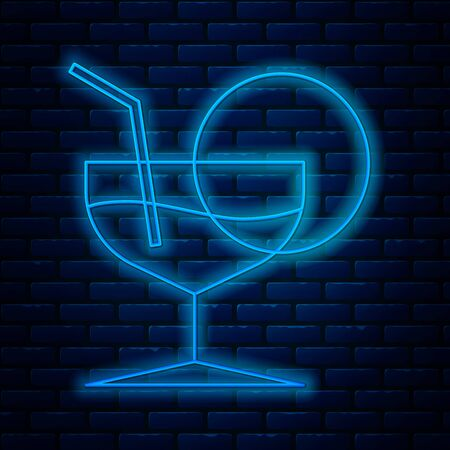 Glowing neon line Martini glass icon isolated on brick wall background. Cocktail icon. Wine glass icon. Vector Illustration