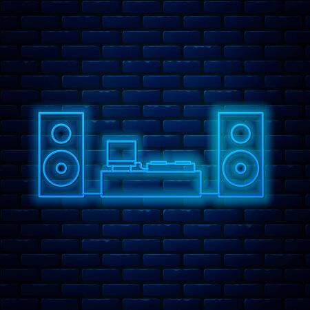 Glowing neon line Home stereo with two speaker s icon isolated on brick wall background. Music system. Vector Illustration