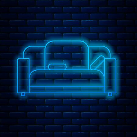 Glowing neon line Sofa icon isolated on brick wall background. Vector Illustration