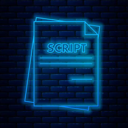 Glowing neon line Scenario icon isolated on brick wall background. Script reading concept for art project, films, theaters. Vector Illustration